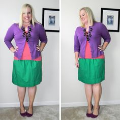 Purple cardigan, red top, green skirt, and black bubble necklace. Bubble Necklace Outfit, Bubble Necklaces, Purple Cardigan, Color Combos, Color Blocking, What To Wear, Bubbles, Ootd, Green