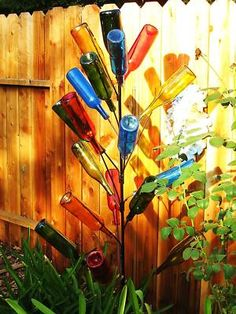 Image Detail for - BOTTLE TREE 6 FOOT TALL W/ 20 BRANCHES GARDEN YARD ART