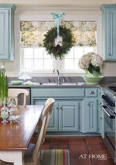 I am going to paint my cabinets... seems cabinets painted different colors is so IN STYLE now! I love this look!!!