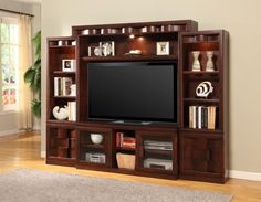 how to decorate a dark wood wall unit - Google Search