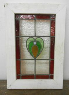 """OLD ENGLISH LEADED STAINED GLASS WINDOW Pretty Heart with Pearl 15.5"""" x 22"""""""