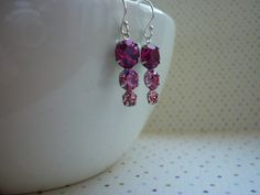 FUSCHIA, ROSE, LIGHT ROSE AND STERLING SILVER VINTAGE STYLE EARRINGS.  1059 £9.99