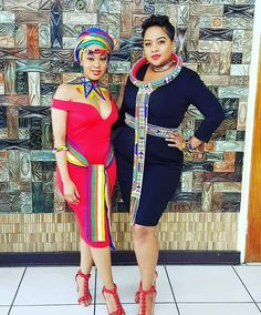 Image may contain: 2 people, people standing and text African Fashion Traditional, African Inspired Fashion, Latest African Fashion Dresses, African Print Dresses, African Print Fashion, African Dress, Traditional Outfits, Sotho Traditional Dresses, African Wedding Attire