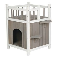 Wooden Pet House Indoor Outdoor Deluxe Cat Perch Shelter Condo Bed Play Activity