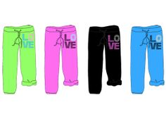Bottoms Up Love Graphic Capri Sweat Pants w/ Drawstring - Women's Sizes S-XL