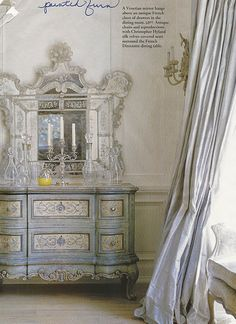 I love this color for the bedroom. I just may paint my dresser like the one shown.