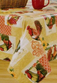 Tuscan Rooster Sunflowers Vinyl Tablecloth 60x84 Oblong Elrene  Http://www.amazon.