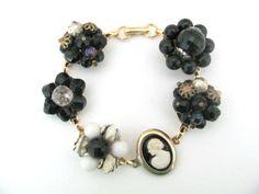 Upcycled Bracelet - Vintage Clip On Earring, Cameo Bracelet - Black