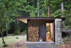 One room cabin, by Tom Kundig, solidly built, so well connected, secure. He understands resilient design from personal experience; it's designed to survive the worst conditions that nature can throw at it.