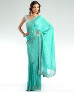 Striking turquoise sari