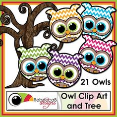 Owl Clip Art contains 22 images in total.  There are 20 different colored Chevron patterned owl clip art, a black and white owl (without pattern) and a clip art tree.  Owl Clip Art by RebeccaB Designs.  This kit contains: - 20 colored clip art Owls in .png format - 1 black and white clip art Owl in .png format - 1 brown textured tree clip art in .png format  My graphic designs are produced using Photoshop, at 300dpi and in .jpeg or .png format unless otherwise stated.