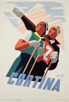 Shop Cortina Vintage Italian travel ski winter sport Poster created by aapshop. Vintage Italian Posters, Vintage Ski Posters, Art Deco Posters, Retro, Tourism Poster, Original Vintage, Vintage Art, Illustrations Posters, Vintage Illustrations