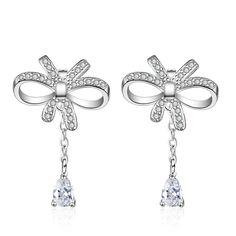 JEXXI Beautiful Women Girls Gorgeous Jewelry Gift Clear Zircon Crystal Earring Elegant Bowknot Rose Gold/Silver Color Earrings #Affiliate