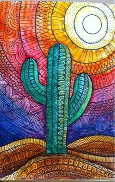 new Ideas for zentangle art dibujos lineas Mandala Art, Art Inspo, Classe D'art, Cactus Art, Cactus Painting, Cactus Drawing, Cactus Doodle, Cactus Plants, Glass Cactus