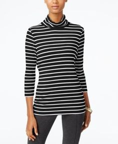 Alfani Prima Striped Turtleneck, Only at Macy's  -