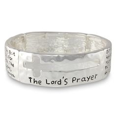 Lord's Prayer Devotional Cutout Cross Silver Tone Stretch Bracelet -- Want additional info? Click on the image.