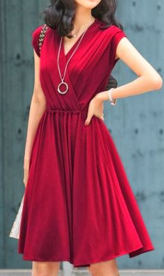 clothing outfit style fashion apparel women  red dark dress necklace bracelet beautiful
