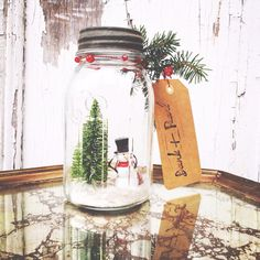 Vintage Mason Jar // Winter Decor // Snowglobe // Made to Order Christmas Jars, Christmas Goodies, Winter Christmas, Holiday Gifts, Christmas Crafts, Merry Christmas, Christmas Ideas, Snow Globe Mason Jar, Vintage Mason Jars