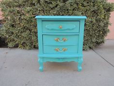 French Provincial Shabby Chic 2 Drawer Nightstand in Turquoise Los Angeles by HouseCandyLA, $165.00