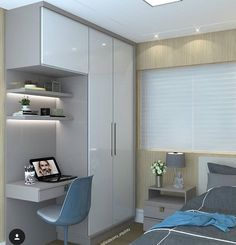 45 super Ideas for home office quarto solteiro Bedroom Furniture Design, Bedroom Cupboard Designs, Bedroom Wardrobe, Wardrobe Design Bedroom, Bedroom Interior, House Interior, Home Office Design, Small Room Bedroom, Small Bedroom