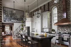 Get inspired by Traditional Kitchen Design photo by SLC Interiors. Wayfair lets you find the designer products in the photo and get ideas from thousands of other Traditional Kitchen Design photos. Industrial Kitchen Design, Interior Design Kitchen, Kitchen Decor, Industrial Kitchens, Brick Interior, Urban Industrial, Industrial Style, Industrial Decorating, Industrial Furniture