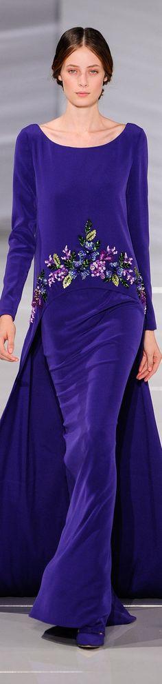 Georges Hobeika ~ Haute Couture Violet Velvet Floral Gown, Fall 2015-16 www.georgeshobeika.com jαɢlαdy