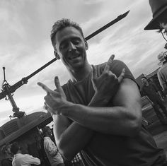 Tom Hiddleston you're signing I love you in sign language