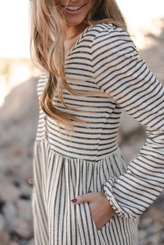 The Jocelyn Stripe Dress in Oatmeal