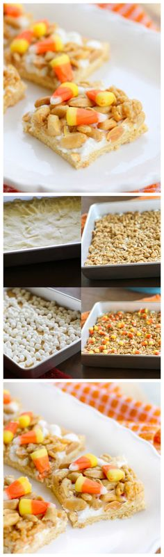 Scarecrow Treats - a sweet cake base topped with salty peanuts and candy corn.