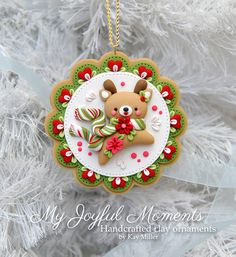 Handcrafted Polymer Clay Winter Reindeer Ornament by Kay Miller. Polymer Clay Ornaments, Polymer Clay Charms, Polymer Clay Projects, Polymer Clay Creations, Clay Crafts, Diy Clay, Crea Fimo, Polymer Clay Christmas, Reindeer Ornaments
