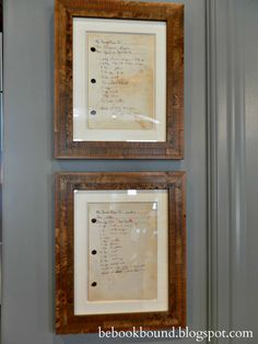 Be Book Bound: Framed Recipes -Great way to preserve memories!
