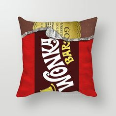 Pillow, Pillow Cover, Decorative Throw Pillow,Throw Pillow Case, Decorative Pillows, Cushions, Cushion Cover Wonka Bar