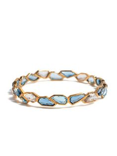 Allia Jigsaw London Blue Topaz, White Quartz, & Blue Topaz Bangle Bracelet