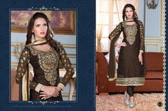 Ethnic Party Wear  Georgette Brasso Semi-Stitched straight cut Coffee Salwar suit with heavy thread embroidery. Comes with Santoon Inner And Bottom and Chiffon dupatta.