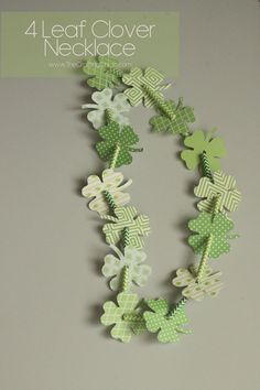 Super cute and easy kids craft…A clover necklace for St. Patrick's Day from www.TheCraftingChicks.com