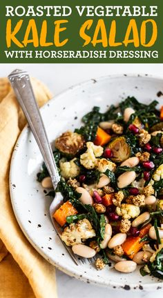 This roasted vegetable salad features Brussels sprouts, butternut squash and cauliflower with a zesty horseradish dressing. Vegan, vegetarian + gluten-free. Healthy Thanksgiving Recipes, Good Healthy Recipes, Paleo Recipes, Easy Recipes, Easy Meals, Roasted Vegetable Salad, Roasted Vegetables, Cooking With Coconut Oil, Bird Food
