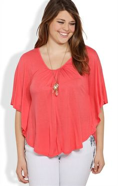 Plus Size Cape Top with V-Shaped Lace Back