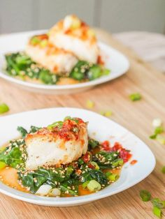 Sea Bass Recipe with Vietnamese Sauce Seared Chilean Sea Bass with Asian Glaze and Sesame Spinach {Gluten-Free, Dairy-Free}Seared Chilean Sea Bass with Asian Glaze and Sesame Spinach {Gluten-Free, Dairy-Free} Seafood Dishes, Fish And Seafood, Seafood Recipes, Cooking Recipes, Seafood Platter, Chicken Recipes, Best Fish Recipes, Asian Recipes, Healthy Recipes
