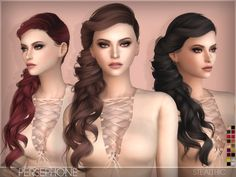 The Sims Resource: Stealthic`s Persephone Female Hair • Sims 4 Downloads