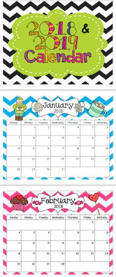 FREE- Great to keep in your teacher notebook, on your desk, use as a snack calendar, or hang in your classroom! These are bright-colored, chevron, monthly calendars. The calendar set includes 24 months: January 2018-December 2019 Classroom Calendar, New Classroom, Preschool Classroom, In Kindergarten, Preschool Activities, Classroom Ideas, Teacher Organization, Teacher Tools, Teacher Resources