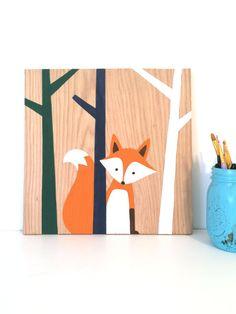 Woodland Nursery Art Fox Nursery Fox Art by SweetBananasArt