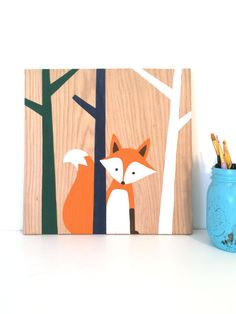 Woodland Nursery Art - Fox Nursery - Fox Art - Forest Animals - Woodland…