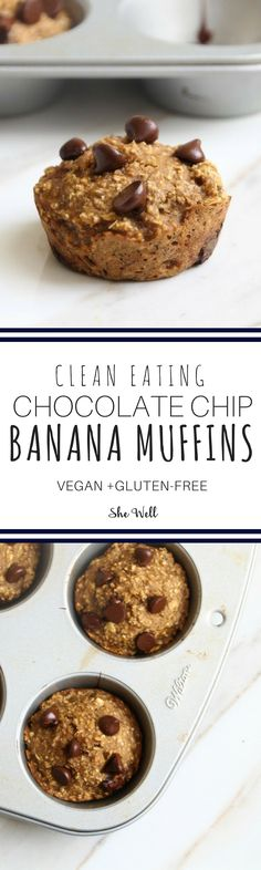 Easy clean eating muffins perfect for people who are vegan, vegetarian, gluten-free + dairy-free! Click to read now or pin for later!