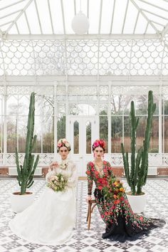 Frida Kahlo inspired bridal editorial, lace wedding dress and floral embroidered gown by Joanne Fleming Design, photo by Roberta Facchini/ #fridakahlo #thetwofridas #lasdosfridas #floralcrown #flowercrowns #mexican #cacti #conservatory