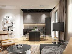 éclairage led indirect dans la cuisine moderne et ouverte sur la salle de séjour
