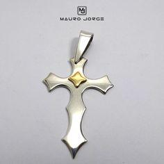 Pingente Crucifixo em prata 925 com detalhe em ouro 18