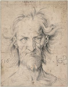 Albrecht Durer - Head of a Bearded Old Man (Saturn), 1516 black chalk drawing on paper