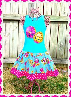 girls Shopkins dress Smart Cookie Lippy Lips Doughnut 2T 3T 4T 5T 4/5 6/6X 7/8 10/12 14/16
