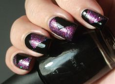 Color Club Gift Of Sparkle & W7 Black Tape nail art