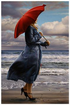 "artist, Paul Kelley, Red Umbrella. Support the #Arts    She should have worn red shoes too-....... : "" je mets des salomés pour marcher  sur le sable mouillé """